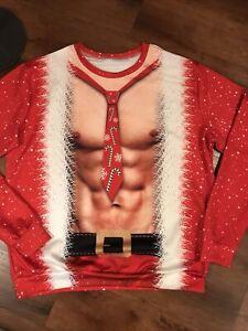 UGLY SWEATER CONTEST WINNER!  men's top shirt SANTA  long sleeve XXL red sexy