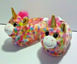Swiggles Toddler Girl's Multicolor Unicorn Slippers - Sock Lining - Size: M(7-8)