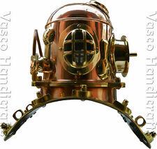 "Diving Divers Helmet 11"" Vintage Brass & Copper Deep Sea ITALIA Divers"