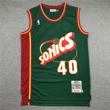Retro 95-96 Seattle SuperSonics #40 Shawn Kemp Camiseta Jersey Baloncesto Verde