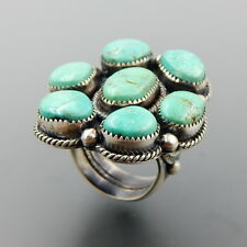 OUTSTANDING HANDCRAFTED STERLING SILVER AMERICAN TURQUOISE CLUSTER RING SIZE 9.5
