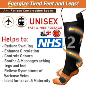 Unisex Copper Infused Anti-Fatigue Compression Socks Varicose Vein Stocking Pair