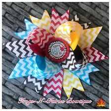 Happy Fall Autumn Chevron Bottlecap Hairbow