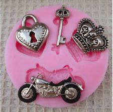 Silicone Heart Key Biker Crown Motorbike Mould Craft Cake Fondant Chocolate