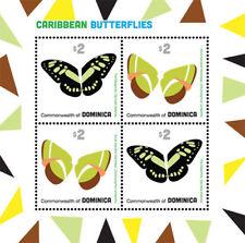 DOMINICA 2013 - CARIBBEAN BUTTERFLIES SHEET OF 4 STAMPS (#2) MNH