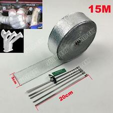 HEAT WRAP TAPE FIBER EXHAUST MANIFOLD 50MM x 15M SILVER + 5 X 20CM CABLE TIES