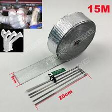 New Exhaust Manifold Downpipe Silver Heat Wrap 15m & 5 Ties rap De Cat Pipe Tape