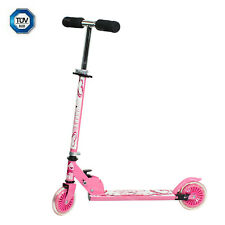 Kids Children's Push Kick Scooters 2 Wheels Folding For Girls Pink Metal Outdoor