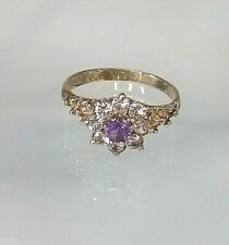 Genuine Amethyst & Diamond Simulant(White Sapp's)Ring 9ct gold Hallmarked Size M