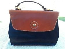 Vintage ~ SACHS ~ Medium Sized Brown & Black Leather Designer Hand Bag Purse