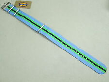 Fossil 22mm Zulu military weaved nylon watch band sky blue green black S221127