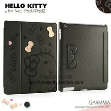 GARMMA HELLO KITTY LEATHER FOLIO CASE FOR NEW IPAD / IPAD2 -BLACK 071413