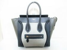 Authentic CELINE Black Gray Khaki Luggage Micro Shopper Leather Tote Bag
