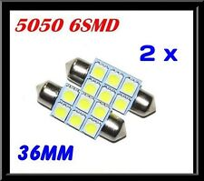 2 x CAR 12V LED 36MM FESTOON INTERIOR WHITE LIGHT BULB 5050 6SMD AUTO DOME GLOBE