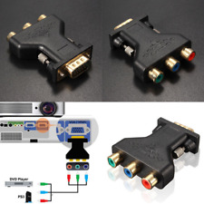 3 RCA RGB Video Female To HD 15-Pin VGA Component Video Jack Adapter New