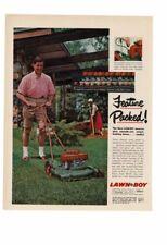 VINTAGE 1957 LAWN BOY MOWER DAD MOWING GRASS MOM GARDENING AD PRINT