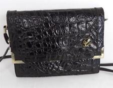 VINTAGE BLACK CROCODILE PRINT ITALIAN LEATHER SHOULDER BAG HANDBAG GIULIA