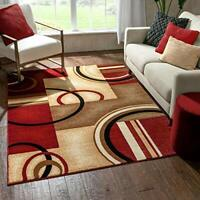 """Well Woven Barclay Arcs & Shapes Red Modern Geometric Area Rug 5'3"""" X 7'3"""""""