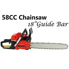 "18"" 58CC Gasoline Chainsaw Cutting Wood Gas Sawing Aluminum Crankcase"