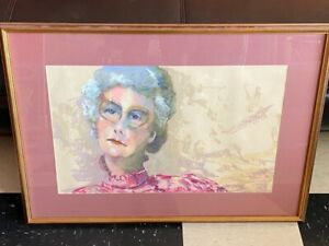 "Vintage Original Pastel Painting by Texas Artist NANCY DISEKER - ""Grand Dame"""