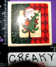 SANTA CLAUS CHRISTMAS TREE FRAME RUBBER STAMP BROTHERS SISTERS DESIGN