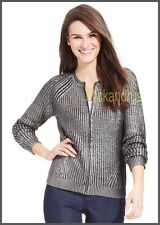*NWT DKNY Cotton Blend Metallic Coating Knit Ribbed Zip Front Cardigan Noir Sz M