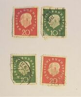 Stamp Lot Germany: Heuss Deutsche Bundespost 10, 20 Cordier Style STAMPS 1959