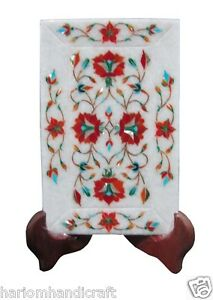 """5""""x8"""" Marble Serving Tray Plate Rare Carnelian Stone Marquetry Inlaid Gift H1421"""