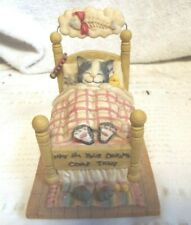 """The San Francisco Music Box Company Cat Dreaming In Bed """"Day Dream Believer"""""""