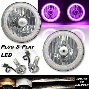 "5-3/4"" Crystal SMD Purple LED Halo Angel Eye H4 Headlight w/ LED Light Bulb Pair"