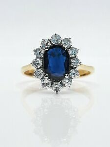 Diamond & Sapphire cluster/cocktail ring 18ct yellow gold