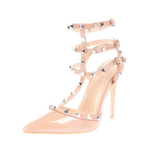 PUBLIC DESIRE Strappy Court Shoes Size 39 UK 6 US 8 Heel Varnished Pyramid Studs
