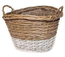 Rattankorb natur/weiß mittel Aufbewahrungskorb Henkel Griff Basket Dekoration