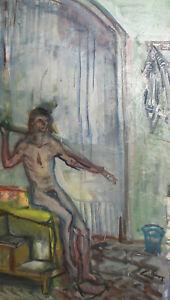 Vintage expressionist oil painting nude man portrait