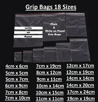 Clear Plastic Poly Grip Self Seal Resealable Zip Lock Mini & Write on Panel Bags