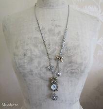 BOHM Vintage Owl Charm Bow WATCH Pendant Necklace Gold/Silver Swarovski BNWT