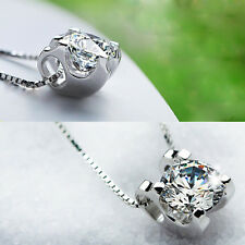 925 Silver Plated Necklace Jewelry Rhinestone Pendant Box Chain Clavicle Charm H