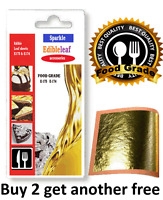 E-175 food grade 100% Pure 24ct  Gold Leaf Edible 30mm Sheets Cake Baking Crafts