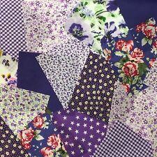 "25 x 4"" Fabric Remnant Bundle patchwork squares~Purple Collection~Craft"