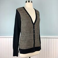 Size XS Extra Small Ann Taylor Loft Women's  Black Gold Cardigan Sweater NWT NEW
