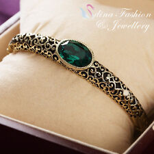 18K Yellow Gold Plated Made With Swarovski Crystal Oval Vintage Emerald Bangle