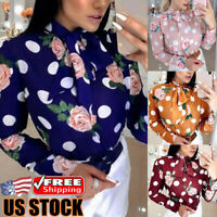 Women Floral Long Sleeve Loose Blouse Tops Ladies Bow Tie Casual OL T-Shirt Tee