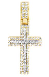 "Unisex 10K Gold Real Diamond Cross Pendant Two Tone Charm 1.5CT 1.6"""
