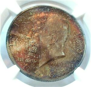 1964-D USA Kennedy Silver Half Dollar NGC MS66 Condition End of Roll toning(316)