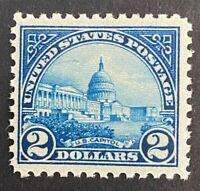 US Stamps, Scott #572 2 Dollar 1923 US Capitol F/VF M/NH. Vivid deep blue color