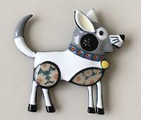 Adorable vintage  style dog brooch  enamel on metal