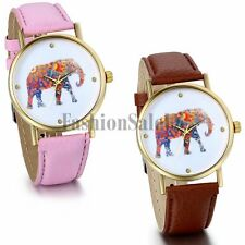 Women's National Style Elephant Casual Leather Strap Quartz Wristwatch Watches