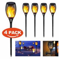 1/2/4 Pack LED Waterproof Flickering Flame Solar Torch Light Garden Lamp Outdoor