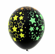 10X Star Black Neon Latex Balloons Birthday Party Babyshower Concert Decoration