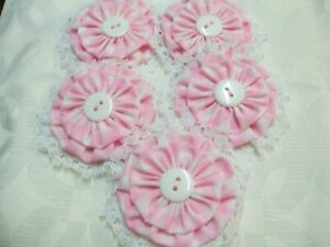 5 x HAND MADE PRETTY MATERIAL FLOWERS WITH VARIOUS PRETTY CENTRES. NEW.